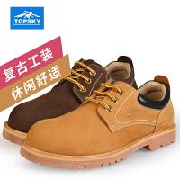 【满299减200】Topsky/远行客 户外工装鞋情侣磨砂休闲鞋男女低帮登山徒步鞋