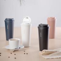 乐扣乐扣咖啡杯随行杯车载便携不锈钢保温杯欧式带盖办公室泡茶杯