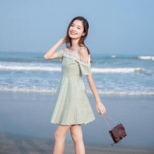 朴衣尚2018夏装新款甜美时尚优雅波浪吊带露肩一字肩花边连衣裙