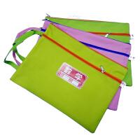 双层科目文件袋 学生a4分科手提帆布拉链整理资料袋 试卷袋分类袋 包邮