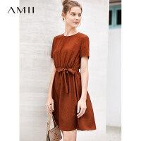 【券后预估价:129元】Amii极简少女度假连衣裙女夏季新款波点印花收腰绑带修身裙子