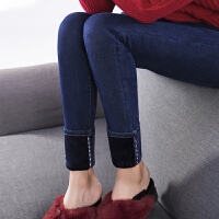 加绒牛仔裤女2017新款秋冬季小脚韩版显瘦保暖加厚高腰黑色铅笔裤