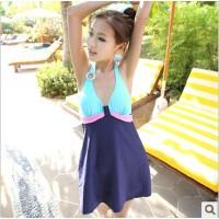 温泉泳装 金格尔1302连体裙式游泳衣 显瘦遮小肚女泳衣