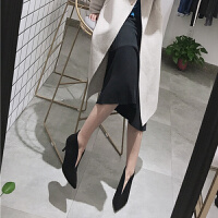 2019女鞋时尚裸靴加绒单靴性感细跟深V口中跟尖头短靴女靴子