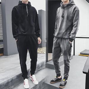 冬季金丝绒休闲运动套装男士卫衣加绒加厚冬天潮流韩版帅气两件套