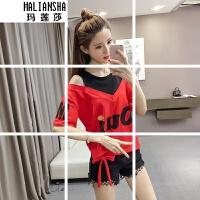 玛莲莎新款T恤女韩版宽松圆领露肩拼接假两件绑带2019年