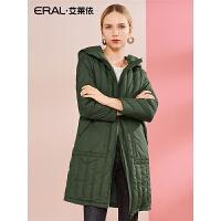 ERAL/艾莱依2018冬新款轻薄羽绒服女中长款显瘦连帽外套617104099