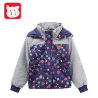 小猪班纳童装男童棉服2017冬装新款儿童棉袄男中大童加厚棉衣外套