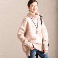 包邮预售 M3255A 通勤宽松花线中长款高领套头毛衣女 2016新【米可可】