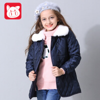 小猪班纳童装女童中长款外套2017冬装新款儿童棉衣女中大童棉服潮