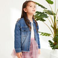 【2件88/3件8折后到手价:239.2元】马拉丁童装女童牛仔外套春装新款韩版图案短款儿童牛仔衣洋气