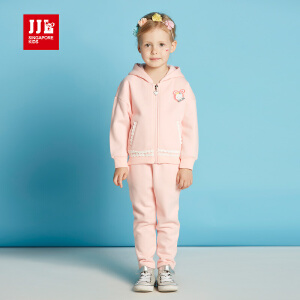 季季乐童装女童套装春秋季小童长袖针织外套长裤带帽上衣GQZ63207