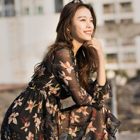2018新款女装春夏真丝连衣裙子桑蚕丝印花长袖两件套欧洲站 黑色