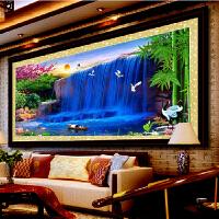 菲绣十字绣 财运亨通四 财源滚滚来 2米风景 蓝色版 财运亨通大幅客厅精准印花满绣