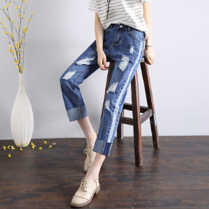Modern idea拼接卷边宽松阔腿显瘦哈伦九分裤2017新款夏季直筒牛仔裤女