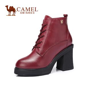 Camel/骆驼女鞋 时尚 牛皮圆头系带粗跟 高跟女靴 新款