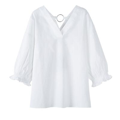 9日  森马  女士七分袖宽松V领衬衫 53.6元