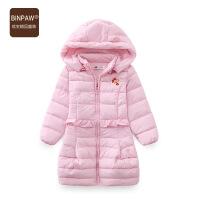 【满200-100】binpaw童装女童棉服 2017新款儿童中长款棉袄外套 冬装中大童棉衣
