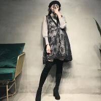 减龄时尚毛衣冬装连衣裙两件套冬孕妇装秋冬款套装洋气蕾丝背心裙