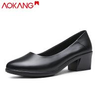 奥康女鞋高跟浅口粗跟舒适休闲小圆头OL职业女单鞋
