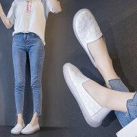 老北京布鞋女鞋2019秋季平底软底妈妈老人孕妇一脚蹬懒人单鞋