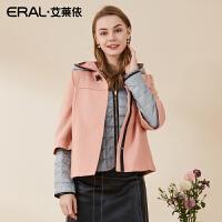 ERAL/艾莱依冬季韩版复古斗篷两件套修身撞色时尚羽绒服2036C