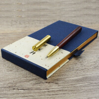方圆签字笔 黄铜酸枝木拼接水笔 可更换笔芯红木笔 定制生日礼物笔
