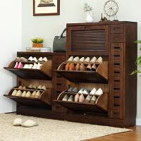 家逸 加宽橡木实木鞋柜 门厅玄关柜换鞋柜储物柜收纳柜翻斗鞋柜 大容量整装发货