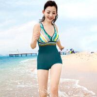 舒漫保守显瘦温泉泳装女式连体平角14024