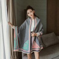 秋冬季新款仿羊绒保暖围巾女加厚毛边空调房披肩两用韩版冬天围脖