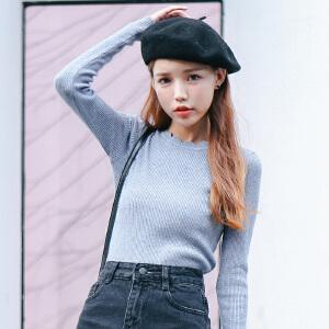 2017秋冬新款女装针织衫打底衫长袖毛衣女套头短款打底衫女上衣