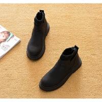 2019春秋平跟短靴平底单靴马丁靴短筒厚底鞋及踝靴女靴子 35 加棉