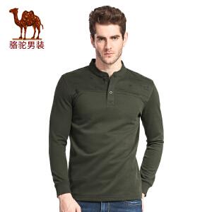 骆驼男装 春秋时尚商务休闲长袖T恤青年印花T恤衫男