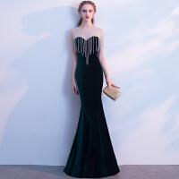 黑色晚礼服2018新款宴会高贵优雅鱼尾修身显瘦主持人礼服长款演出