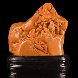 手工雕刻《指日高升山水摆件》寿山麦芽黄全手工精雕色泽艳丽通透寓意吉祥