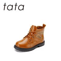 【199元任�x2�p】Tata他她童鞋男童�R丁靴2019新款秋冬加�q�窝����短靴�n版�r尚�和�靴子潮中童