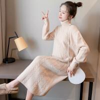 秋冬长款毛衣连衣裙针织衫孕妇上衣冬款高领内搭加厚打底衫
