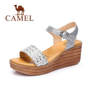 Camel骆驼女鞋 夏季新款坡跟甜美鞋子 水钻防水台高跟凉鞋女