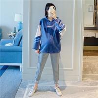 孕妇装冬装加绒加厚打底裤两件套孕妇套装时尚宽松绒面刺绣卫衣