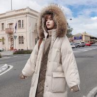 冬季韩版宽松中长款外套孕后期孕妇棉衣加厚冬装棉袄