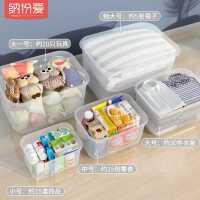零食收�{箱透明塑料收�{盒家用�b衣服玩具整理箱小��W生�ξ锖凶�