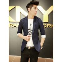 青年大码七分袖西服韩版修身中袖西装男士半袖薄款外套潮礼服 3X