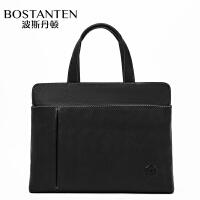 波斯丹顿男士手提包手拿头层牛皮电脑公文商务休闲简约男士包包B1191083