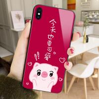 也要可爱猪苹果xs max手机壳6s红色新年iphone6plus玻璃7猪年卡通xr个性创意8p情侣x网红保护套7pl