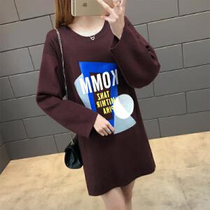 �莱2018新款女装韩版气质宽松卡通印花百搭长袖中长款连衣裙女