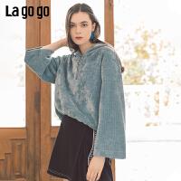 Lagogo2019秋季新款学院风连帽亮丝长袖卫衣女宽松喇叭袖雪纺上衣