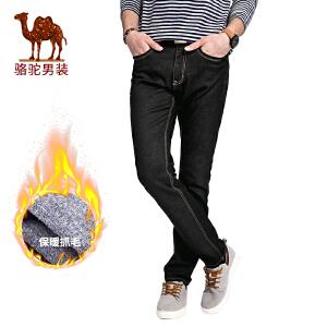 骆驼男装 秋季新款水洗休闲男士牛仔裤中腰简约微弹男长裤子