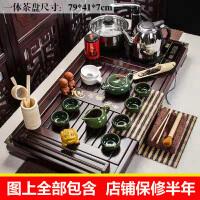 饮露凝香孔雀绿冰裂套装功夫茶具套装家用全套自动电热磁炉套装