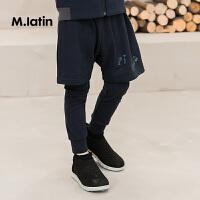 【2件88/3件8折后到手价:103.2元】马拉丁童装男童长裤春新品时尚假两件设计舒适针织长裤