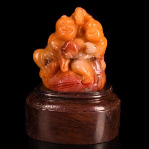《福禄寿摆件》寿山石取巧全手工精雕寓意吉祥